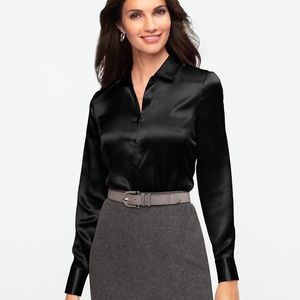 NWT YESSICA Women's Black Fitted Satin Shirt